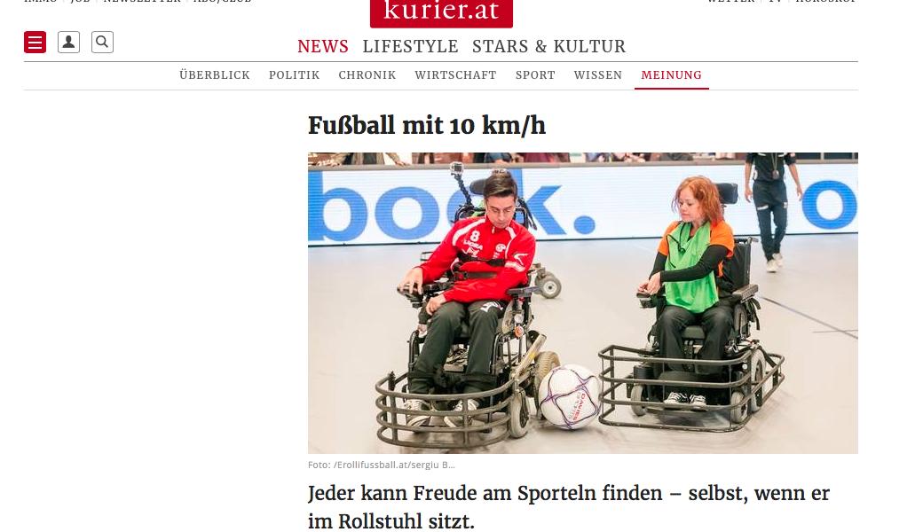 Kurier-Artikel: Fußball mit 10 km/h