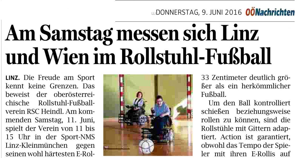 Oberösterreichischen Nachrichten: Am Samstag messen sich Linz und Wien im Rollstuhl-Fußball
