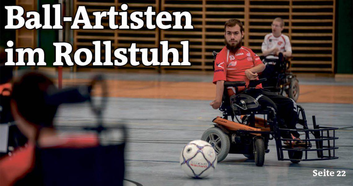 Ausschnitt der Titelseite der Wiener Bezirkszeitung Brigittenau: Ball-Artisten im Rollstuhl