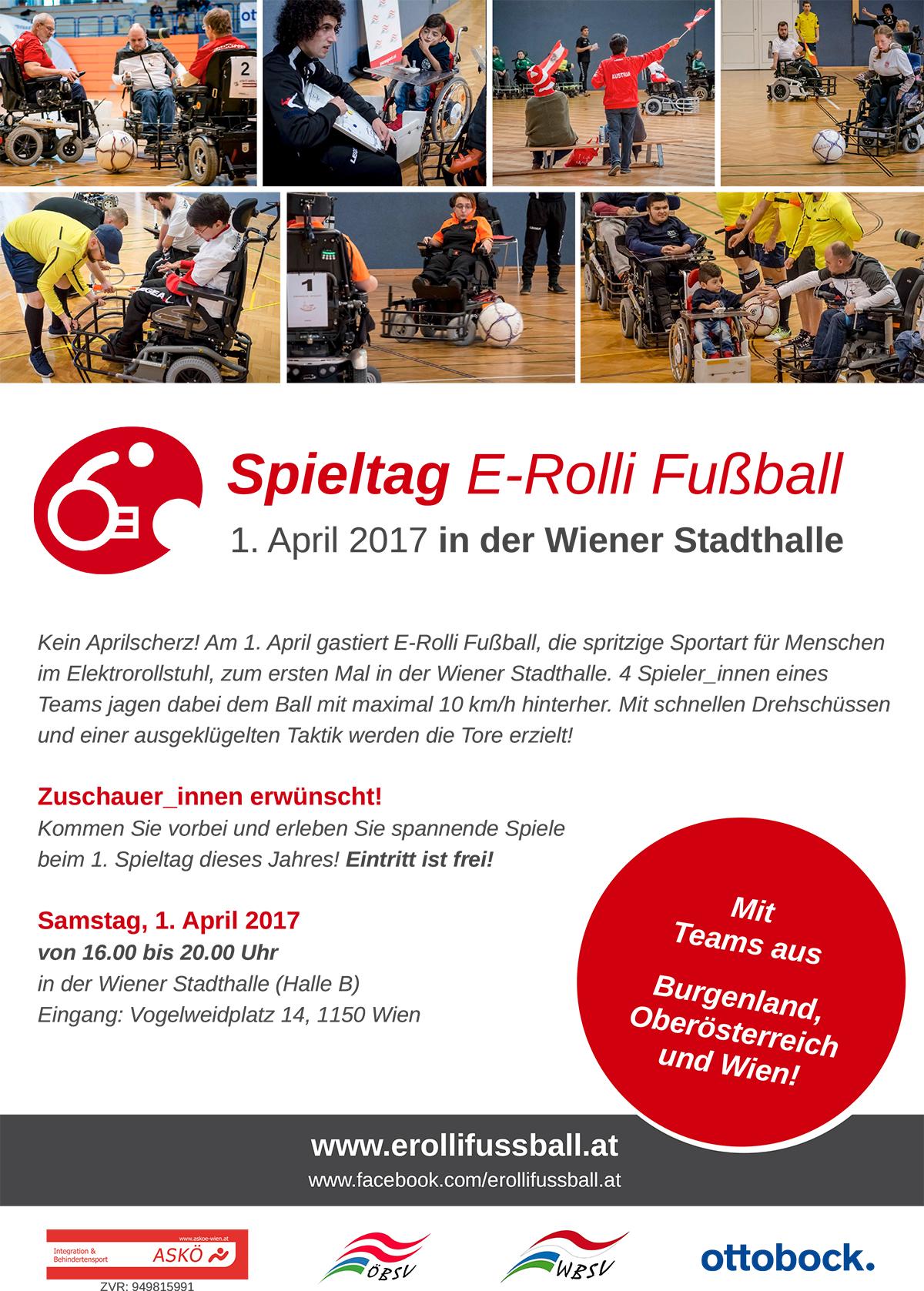 Spieltag E-Rolli Fußball am 1. April in der Wiener Stadthalle