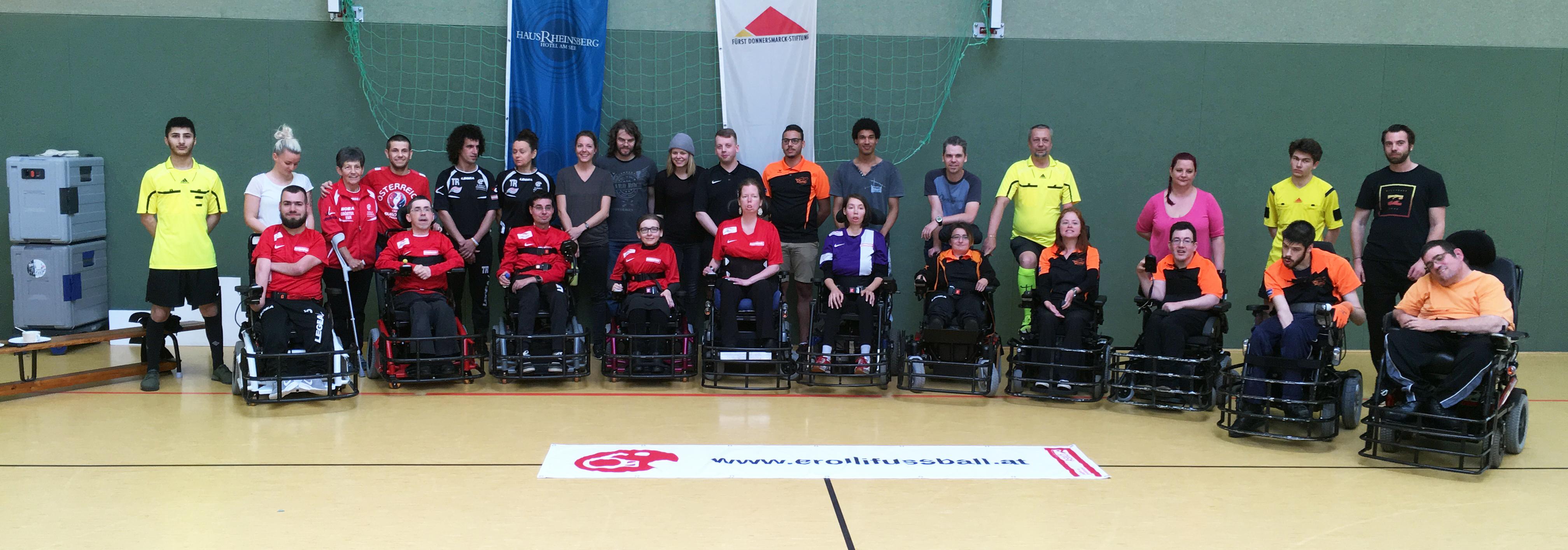 Teams aus Österreich beim 1. E-Rolli Fußball HausRheinsberg Cup 2017 / E-agles vom ASKÖ Wien und Steelchairs Linz vom RSC heindl OÖ