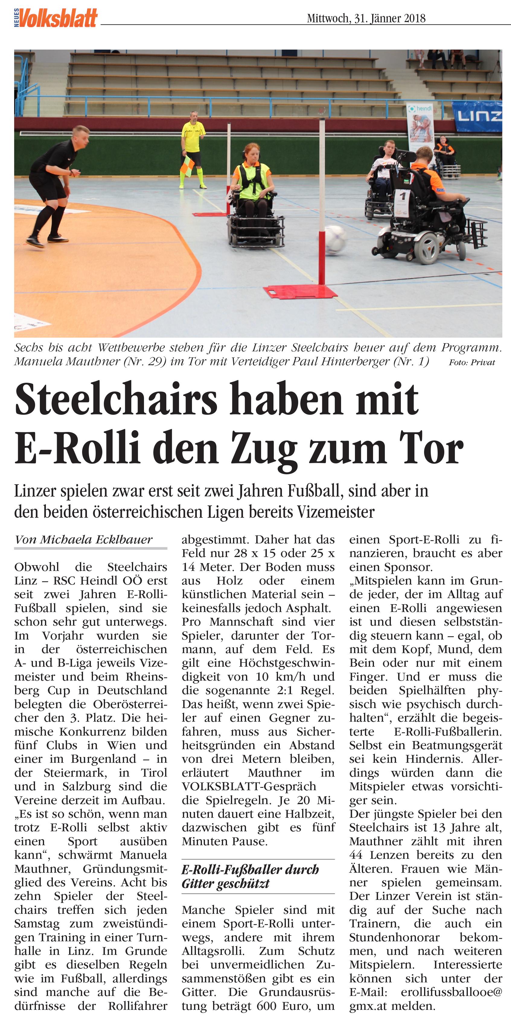 Neues Volksblatt vom 31. Jänner 2018