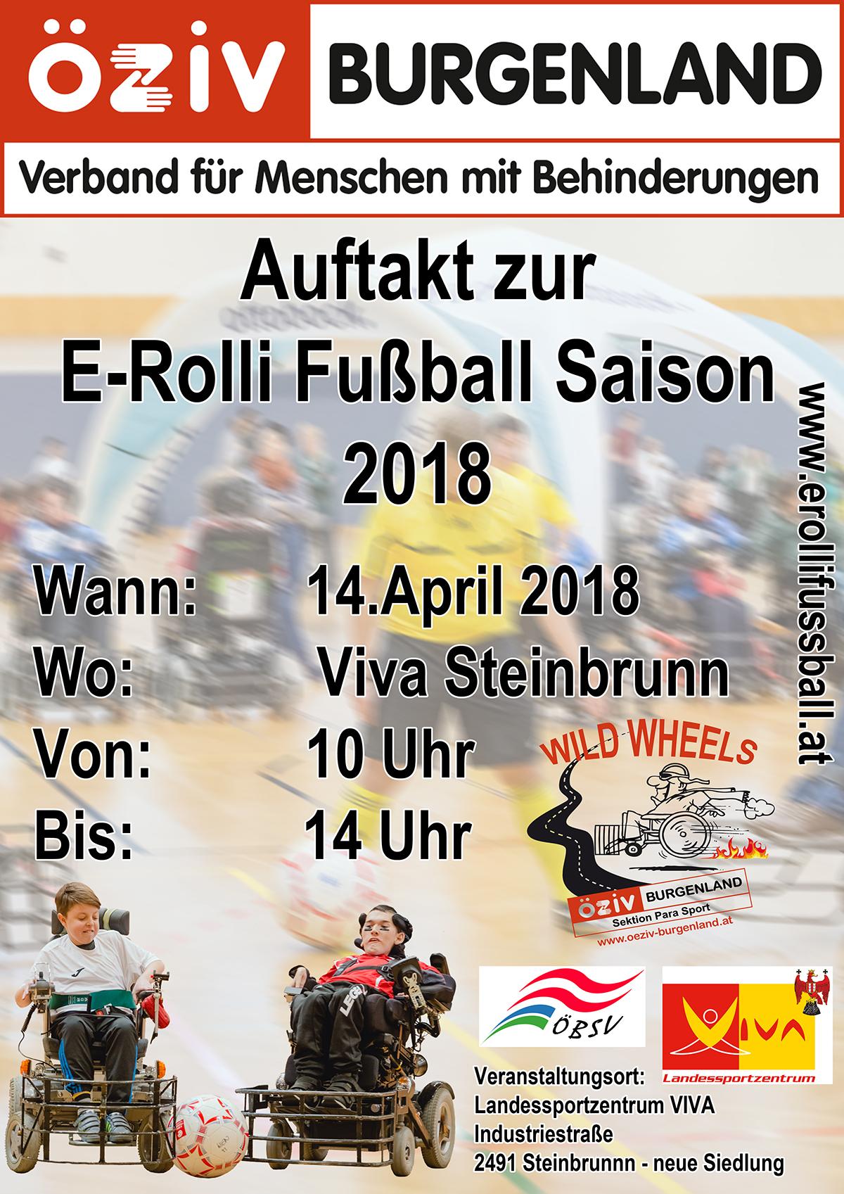 Einladung zum Auftakt zur E-Rolli Fußball Saison 2018 in Steinbrunn