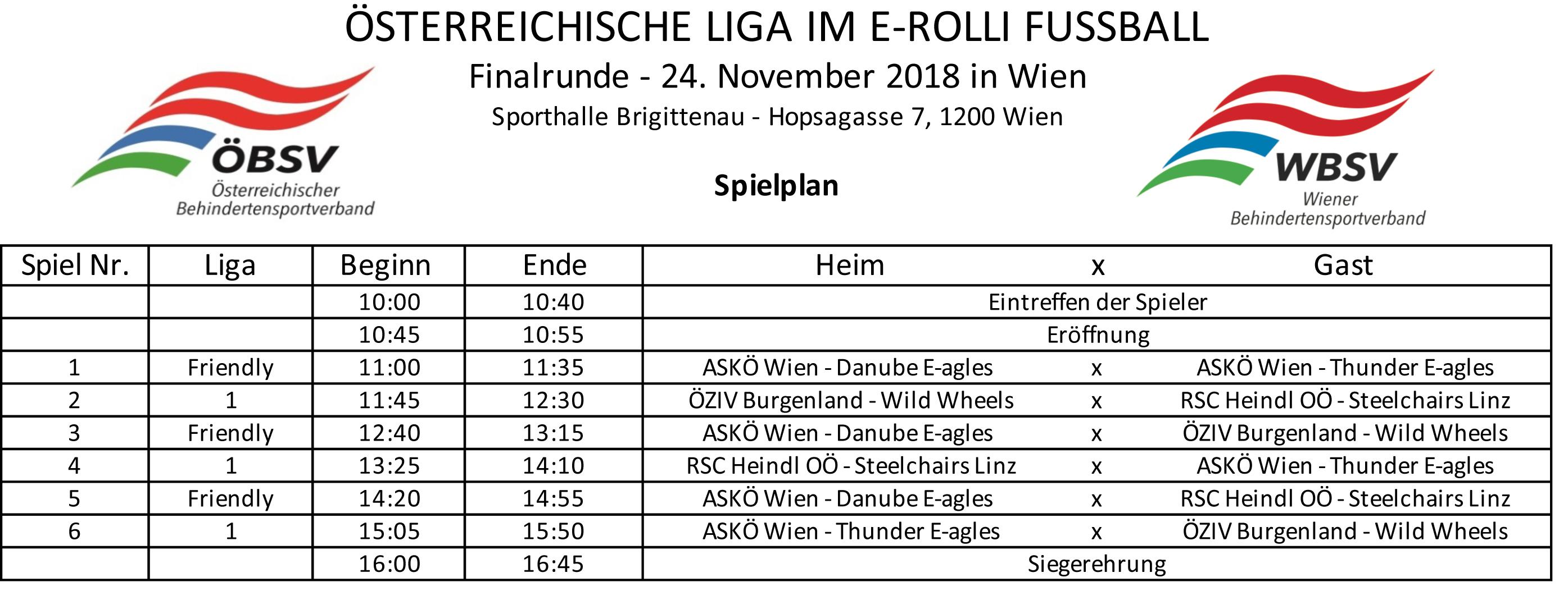 Spielplan Liga-Finale 2018