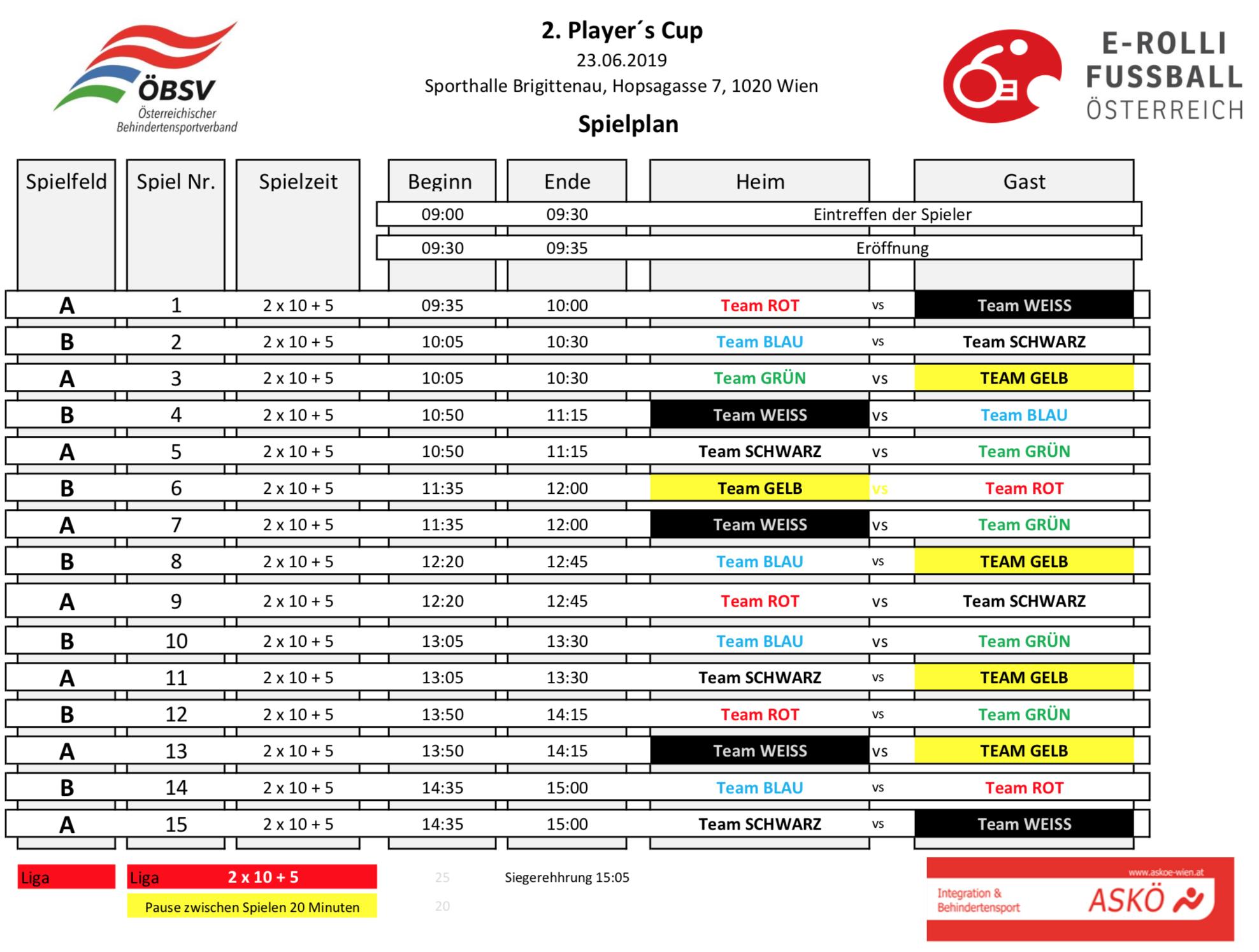 Spielplan für den 2. Player's CUP am 23. Juni 2019